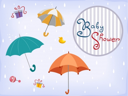 occassion: Illustration of Baby Shower Invitation Card Design with Umbrellas