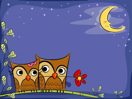 Illustration of Owl Couple in Nighttime Background illustration