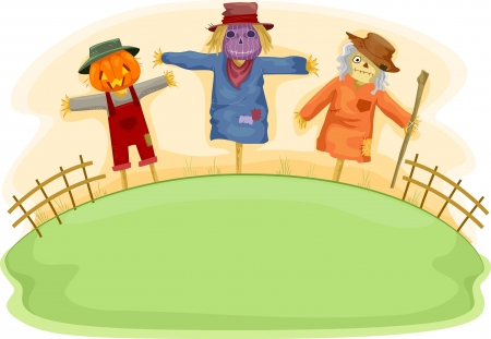 hayman: Illustration of Scary Scarecrows on a Fiels