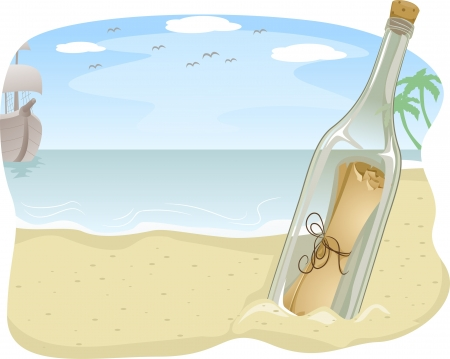 beach closed: Illustration of Botlled Scroll Message