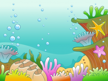 bubble sea anemone: Illustration of Underwater Scene