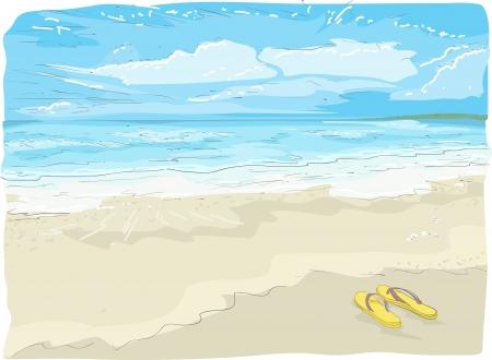 flipflops: Illustration Sketch of Flipflops on the Beach