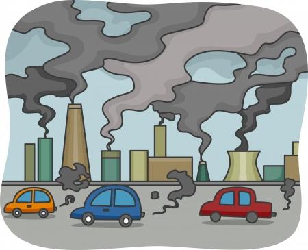 contaminacion ambiental: Ilustración de la contaminación atmosférica