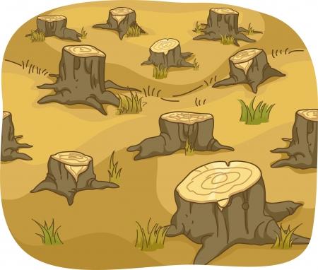 森林破壊を示す木の切り株のイラスト