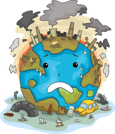 Illustration of Crying Earth Due to Pollution Stock Photo