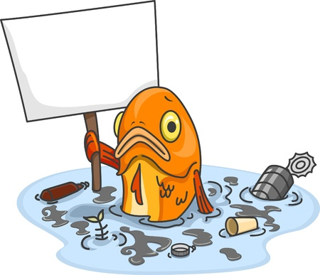 Illustration of Sad Fish in Polluted Water Carrying a Blank Board Stock Photo