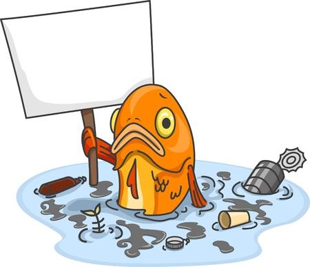 contaminacion del agua: Ilustración de Fish Sad en el agua contaminada que lleva una tarjeta en blanco