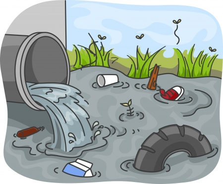 contaminacion del agua: Ilustración de los desechos industriales resultantes de la contaminación del agua