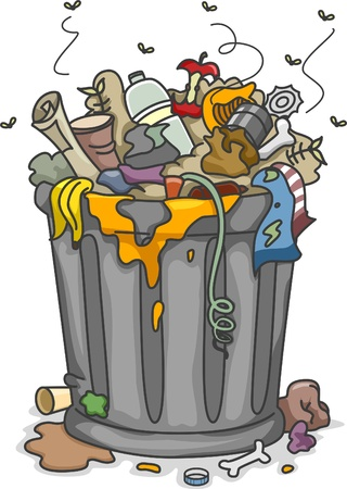unclean: Illustration of Overflowing Trashbin with Flies