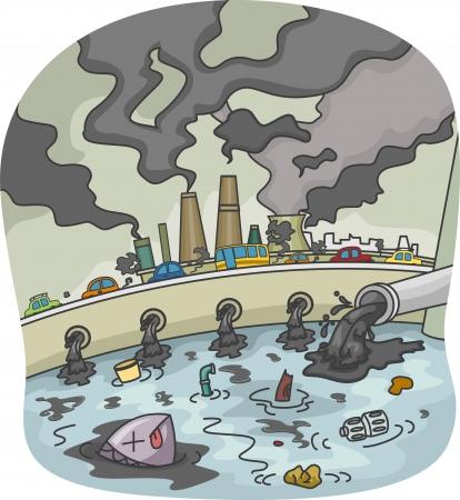 물과 공기 오염의 그림 스톡 콘텐츠