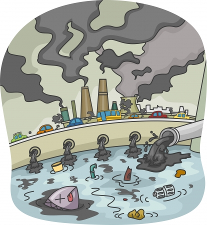 pollution: Illustration of Water and Air Pollution Stock Photo