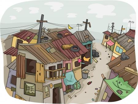 krottenwijk: Illustratie van een sloppenwijk
