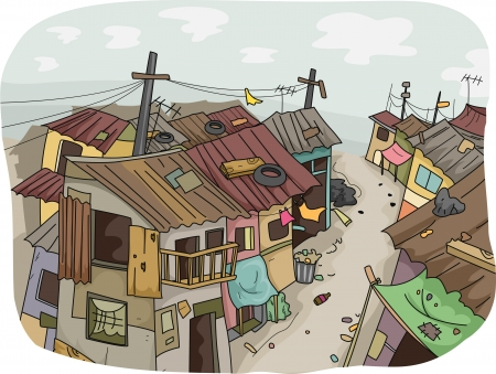 Illustration of a Slum Neighborhood 版權商用圖片