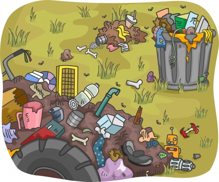 contamination: Illustration of Waste Dump in a Field