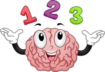 cartoon math: Illustration of Brain Mascot with Numbers 1 2 3 Stock Photo