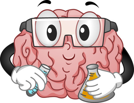 testtube: Illustration of Brain Mascot with Eye Protection Doing an Experiment Stock Photo