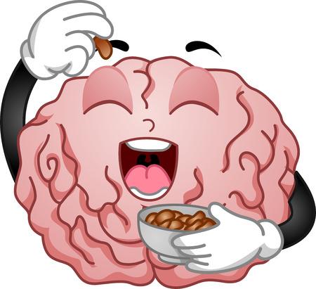 brain food: Illustration of Brain Mascot Eating Peanuts