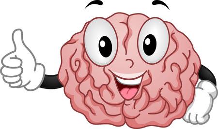 해피 뇌 마스코트 스포츠 확인 Handsign의 그림