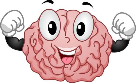 healthy brain: Illustration of Strong Brain Mascot