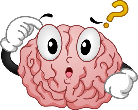 poise: Illustration of Thinking Brain Mascot with Question Mark
