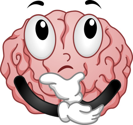 cartoonize: Illustration of Thinking Brain Mascot with Hands on Chin