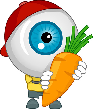 eyesight: Illustration of An Eyeball Mascot with Red Cap Carrying a Carrot Stock Photo