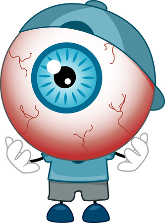 Illustration of Red-Eyed Eyeball Mascot wearing Blue Shirt, Cap, and Shoes