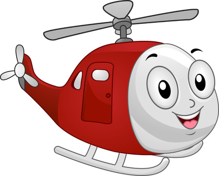 cartoonize: Illustration of Red Helicopter Mascot Stock Photo
