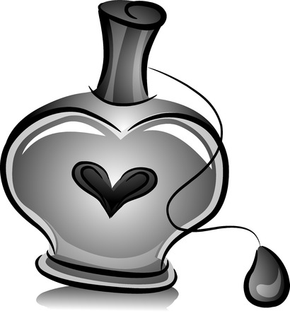 perfume bottle: Illustration of Bottle of Perfume with Ball Spray in Black and White
