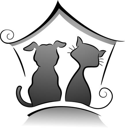 silhouette chat: Illustration de chat et silhouette de refuge pour chiens en noir et blanc Banque d'images