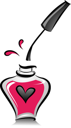 Illustration of an Open Bottle of Pink Nail Polish in Black and White with Pink Color Accent illustration