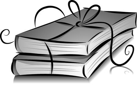 reading materials: Illustration of Books with Ribbon in Black and White