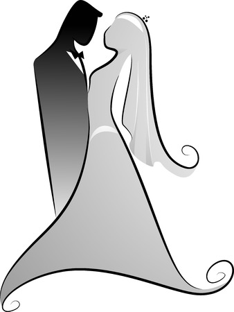 wedding couple silhouette: Illustration of Groom and Bride Silhouette in Black and White Stock Photo