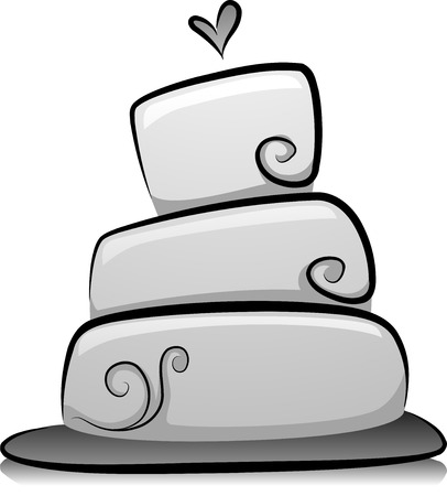 wedding cake: Illustration of Wedding Cake in Black and White