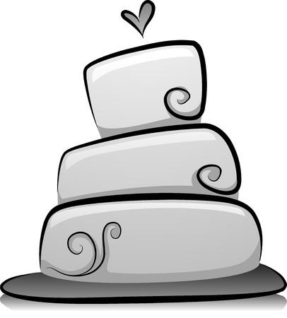 boda pastel: Ilustraci�n de la torta de boda en Blanco y Negro Foto de archivo