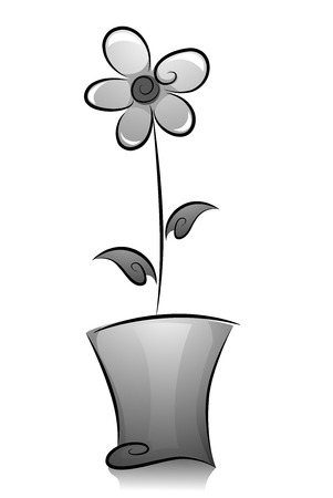 Illustration of Potted Flower Plant in Black and White illustration