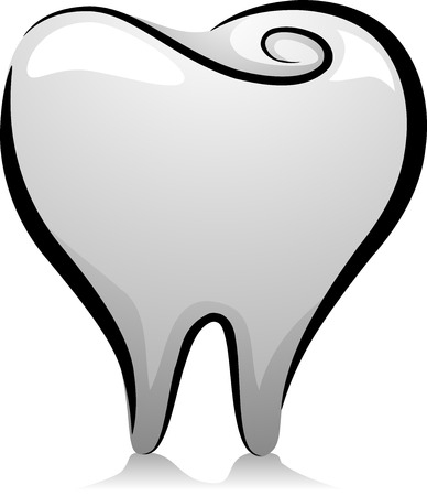 teeth cartoon: Illustration of a Tooth in Black and White Stock Photo