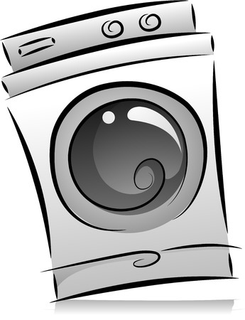 Illustration of Washing Machine in Black and White Reklamní fotografie