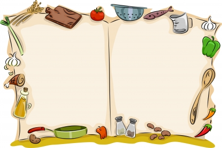 Illustration of Open Blank Cook Book Background