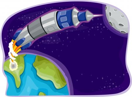 Illustration of Rocket in Outer Space illustration