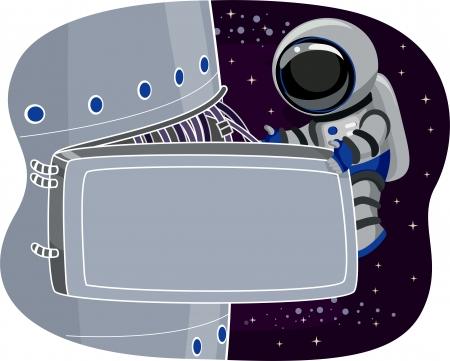Ilustraci�n de un astronauta en la Estaci�n Espacial Mantenimiento Foto de archivo - 22244935