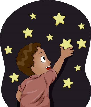 sticking: Illustration of Kid Boy sticking Glow-in-the-Dark Stars