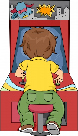 kids playing video games: Rear View Illustration of Kid Boy Playing in Arcade