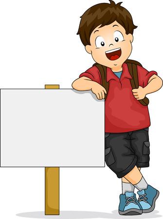 escuela caricatura: Ilustración de Kid Boy Apoyado en el letrero en blanco