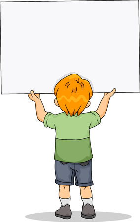 rear view: Rear View Illustration of Kid Boy holding a Blank Board Stock Photo