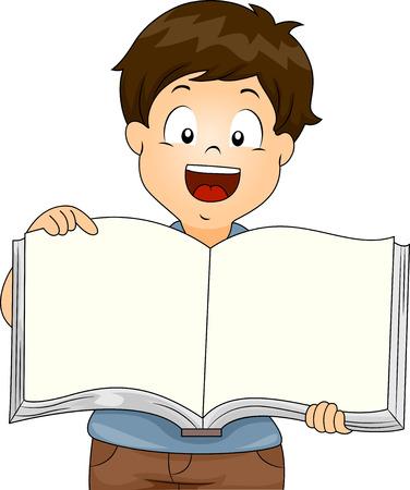schooler: Illustration of Kid Boy holding an Open Blank Book