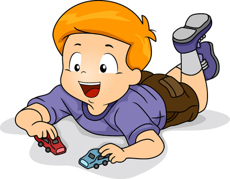 young boy: Illustration of Kid Boy Playing Toy Car