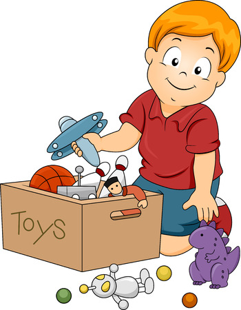 storage box: Illustration of Kid Boy Storing Toys