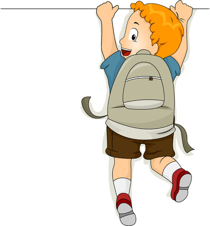 learning materials: Illustration of Student Boy Hanging on a Blank Board Stock Photo