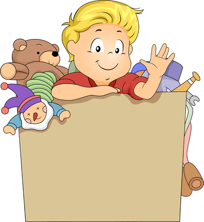 toy box: Illustration of Kid Boy in a Toy Box Full of Toys with space for Text Stock Photo